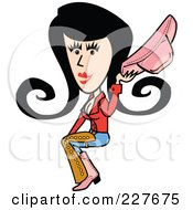 Retro Cowgirl Woman Sitting And Holding Her Hat