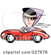 Royalty Free RF Clipart Illustration Of A Retro Woman Driving A Convertible Car
