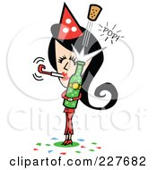Retro Woman Blowing A New Years Noise Maker And Popping A Cork Off Of Champagne