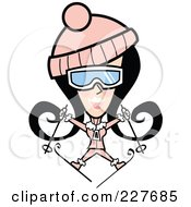 Royalty Free RF Clipart Illustration Of A Retro Woman Jumping And Skiing by Andy Nortnik