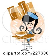 Royalty Free RF Clipart Illustration Of A Retro Woman Drinking Coffee In A Cafe by Andy Nortnik