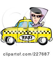 Royalty Free RF Clipart Illustration Of A Retro Woman Waving And Riding In A Taxi Cab by Andy Nortnik