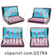 Clipart Illustration Of Four Laptop Computers With Three Pink Men On Each Screen