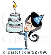 Retro Woman Holding Up A Birthday Cake
