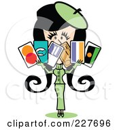 Royalty Free RF Clipart Illustration Of A Retro Woman In A Green Suit Holding A Bunch Of Credit Cards by Andy Nortnik