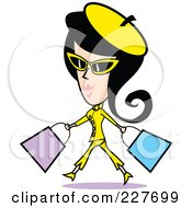 Retro Woman Shopping And Walking In A Yellow Suit