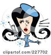 Royalty Free RF Clipart Illustration Of A Retro Woman In Winter Clothes Talking On A Cell Phone by Andy Nortnik