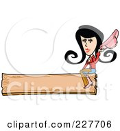 Retro Cowgirl Woman Holding Her Hat And Sitting On A Blank Wooden Sign