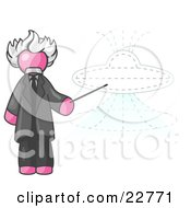 Clipart Illustration Of A Pink Einstein Man Pointing A Stick At A Presentation Of A Flying Saucer