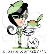 Royalty-Free (RF) Clipart Illustration of a Retro Woman In A Green Suit, Feeding Canned Food To Her Cat by Andy Nortnik