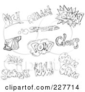 Royalty Free RF Clipart Illustration Of A Digital Collage Of Black And White Doodled Comic Words by yayayoyo