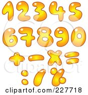 Royalty Free RF Clipart Illustration Of A Digital Collage Of Gradient Orange Bubble Numbers And Math Symbols