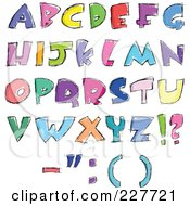 Digital Collage Of Colorful Sketched Capital Letter Designs