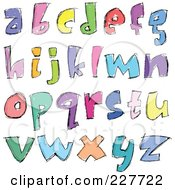 Royalty Free RF Clipart Illustration Of A Digital Collage Of Colorful Sketched Lowercase Letter Designs