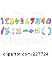 Royalty Free RF Clipart Illustration Of A Digital Collage Of Colorful Doodled Numbers And Math Symbols by yayayoyo