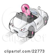 Clipart Illustration Of A Pink Businessman Talking On A Cell Phone While Driving In A White Convertible Car