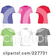 Royalty Free RF Clipart Illustration Of A Digital Collage Of Plain Colorful Womens T Shirts