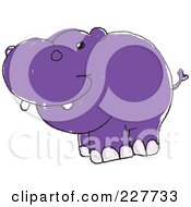 Royalty Free RF Clipart Illustration Of A Cute Doodled Purple Hippo by yayayoyo