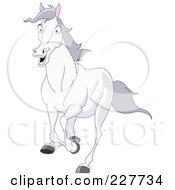 Royalty Free RF Clipart Illustration Of A Scared White Horse Running by yayayoyo