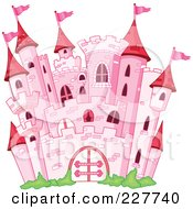 Royalty Free RF Clipart Illustration Of A Pink Stone Castle With Red Turrets And Pink Flags by yayayoyo