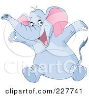 Royalty Free RF Clipart Illustration Of A Happy Blue Elephant Sitting And Holding His Arms Up