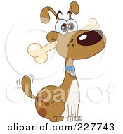 Royalty Free RF Clipart Illustration Of A Happy Dog Fetching A Bone