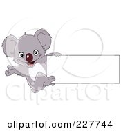 Royalty Free RF Clipart Illustration Of A Cute Baby Koala Hanging Off The Edge Of A Blank Sign by yayayoyo