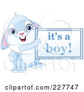 Royalty Free RF Clipart Illustration Of A Cute Blue Rabbit Holding An Its A Boy Sign