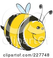 Royalty Free RF Clipart Illustration Of A Cute Doodled Chubby Bee