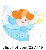 Royalty Free RF Clipart Illustration Of A Chubby Fairy Winking And Flying