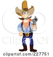 Royalty Free RF Clipart Illustration Of A Western Cowboy Touching His Belt And Holding A Gun