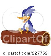 Royalty Free RF Clipart Illustration Of A Cute Woodpecker Sitting On A Log by yayayoyo