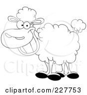Coloring Page Outline Of A Happy Sheep