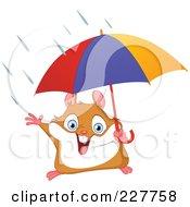 Happy Hamster Holding An Umbrella In The Rain