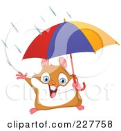 Royalty Free RF Clipart Illustration Of A Happy Hamster Holding An Umbrella In The Rain by yayayoyo