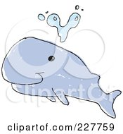 Royalty Free RF Clipart Illustration Of A Cute Doodled Whale