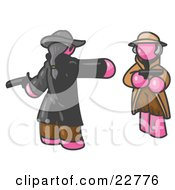 Clipart Illustration Of A Pink Man Challenging Another Pink Man To A Duel With Pistils