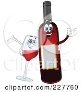 Royalty Free RF Clipart Illustration Of A Happy Wine Glass And Bottle by yayayoyo #COLLC227760-0157