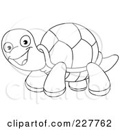 Royalty Free RF Clipart Illustration Of A Coloring Page Outline Of A Happy Tortoise by yayayoyo