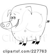 Coloring Page Outline Of A Happy Pig