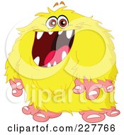 Royalty Free RF Clipart Illustration Of A Happy Hairy Yellow Monster