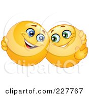 Royalty Free RF Clipart Illustration Of Yellow Smiley Face Emoticons Hugging by yayayoyo