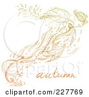 Royalty Free RF Clipart Illustration Of Doodled Fall Leaves Floating In The Wind With The Word Autumn by yayayoyo
