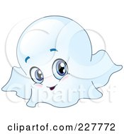 Royalty Free RF Clipart Illustration Of A Cute Blue Eyed Ghost by yayayoyo