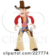 Royalty Free RF Clipart Illustration Of A Western Cowboy Ready To Draw His Gun