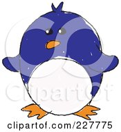 Royalty Free RF Clipart Illustration Of A Cute Doodled Blue Penguin by yayayoyo
