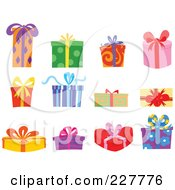 Royalty Free RF Clipart Illustration Of A Digital Collage Of Colorful Gift Boxes by yayayoyo