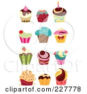 Royalty Free RF Clipart Illustration Of A Digital Collage Of Gourmet Cupcakes by yayayoyo