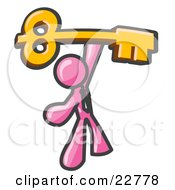 Clipart Illustration Of A Pink Businessman Holding A Large Golden Skeleton Key Symbolizing Success