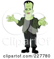 Royalty Free RF Clipart Illustration Of A Friendly Frankenstein Gesturing With His Hands by yayayoyo
